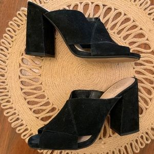 Vince Camuto black suede mules